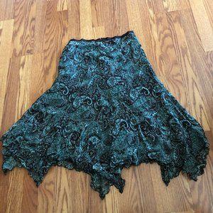 Brown & Green Paisley Lined Handkerchief Hem Skirt